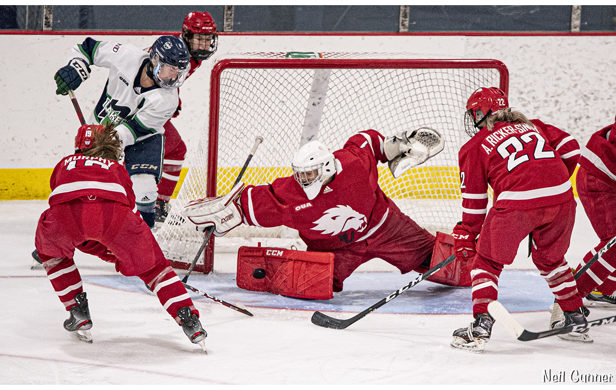Hockey Image 17: skaters race for puck